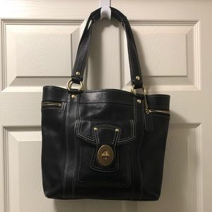 Authentic Coach Black Leather Tote.